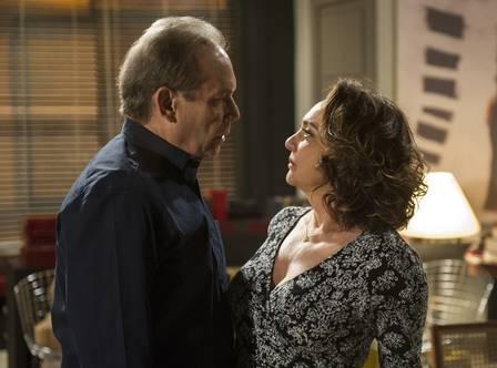 """José Wilker e Eliane Giardini na novela """"Amor à vida"""", seu último trabalho na TV."""