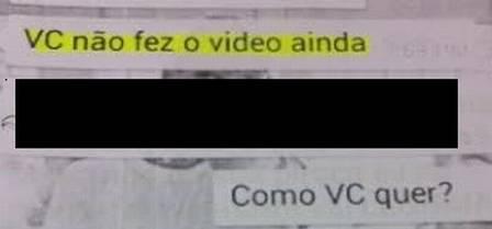 Numa das conversas entre o pedófilo e uma criança, ele pede que o menino envie para ele um vídeo