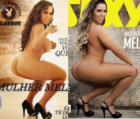 """Mulher Melão na """"Playboy"""", em 2011, e na """"Sexy"""", em junho de 2016"""
