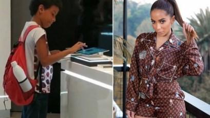 Anitta ajuda menino que viralizou estudando em tablet em shopping