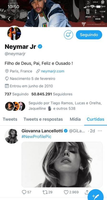 Neymar curte foto sexy de Giovanna Lancellotti após fim com funkeira
