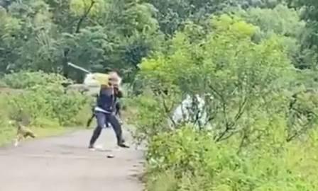 man attacks hyena with stick