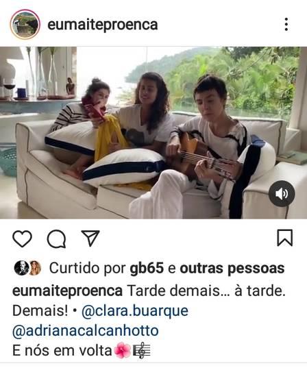 Maitê Proença puts on the duet of Adriana Calcanhotto and Clara Buarque