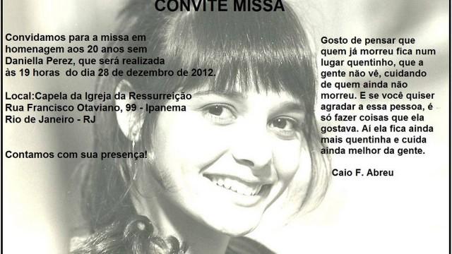 O convite para a missa que lembra a morte de Daniella Perez