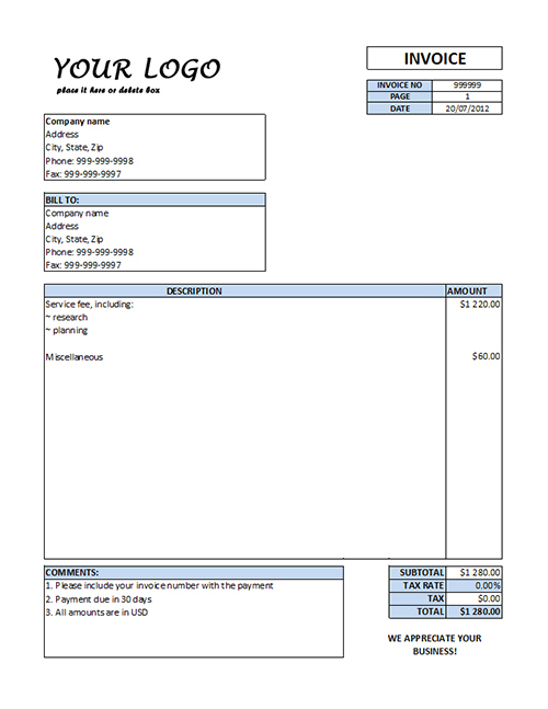 Office Invoice Template. Office Invoice Template Design Invoice