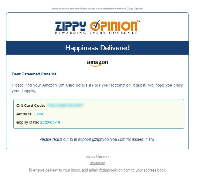INR 500 Amazon Gift voucher from Zippy Opinion
