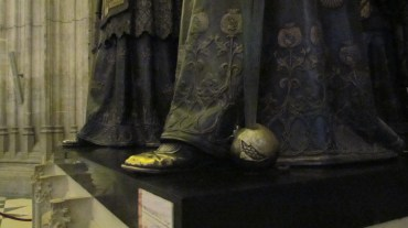 The pierced pomegranate on Columbus' tomb, Seville Cathedral, Spain