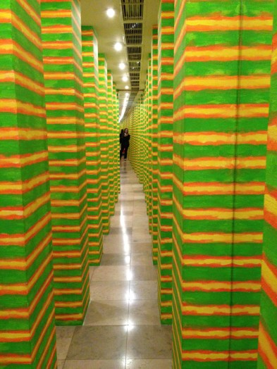 A fun modern art hallway with disorienting mirrors.