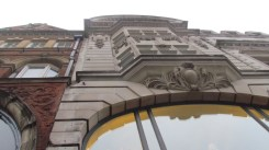 Looking up the facade.
