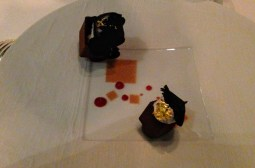 Dark chocolate and black truffle dessert.