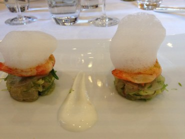 Shrimp with lime and seaweed and foam.