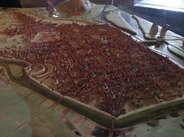 A model showing what Rouen looked like in the 1400s.