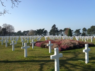 Countless headstones on the beachfront grounds.