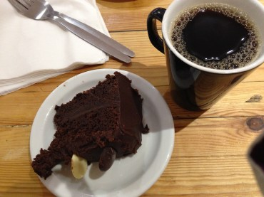 Divine gluten-free chocolate fudge cake from the Real Food Cafe.