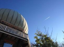 A plane cutting the sky.
