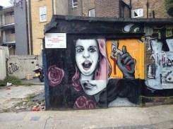 Art nearby the Columbia Road Flower Market in East London.