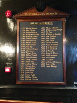 List of landlords proudly presented inside the bar.
