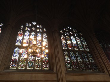 The stained glass in the hall rivaling Sainte Chapelle in Paris.