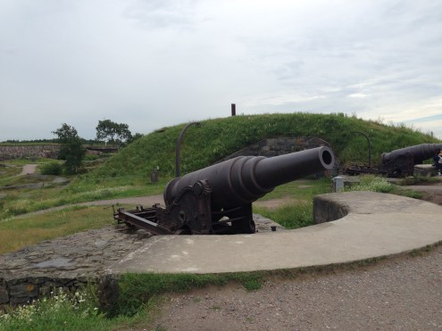 The canons mounted on the water's edge.