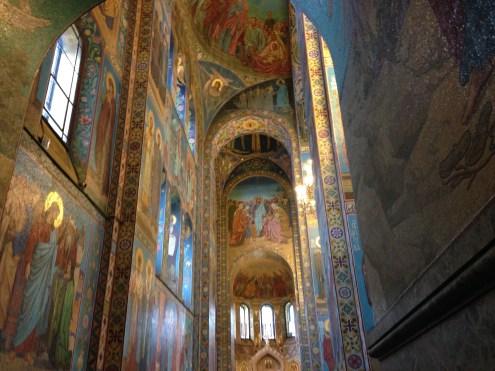 The tall, tall walls inside the church.