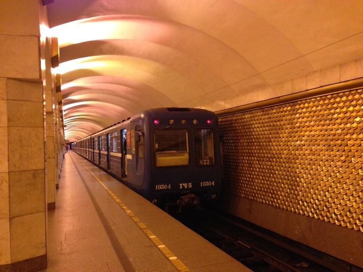 The ornate underground of St. Petersburg.