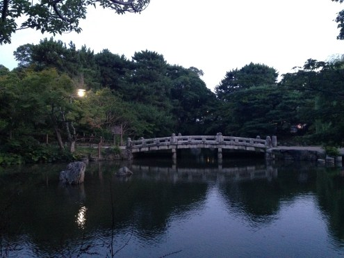 A Japanese bridge on the grounds of the Chion-In Temple.