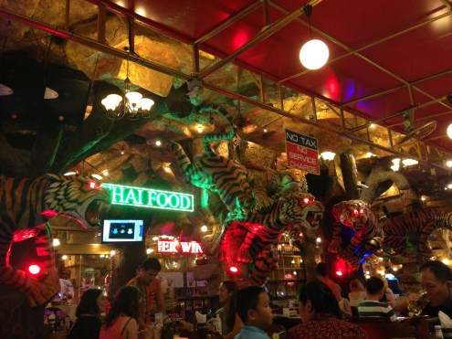 The fancy, neon bars of the night market.
