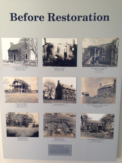 Photos of the McLean House restoration over time.