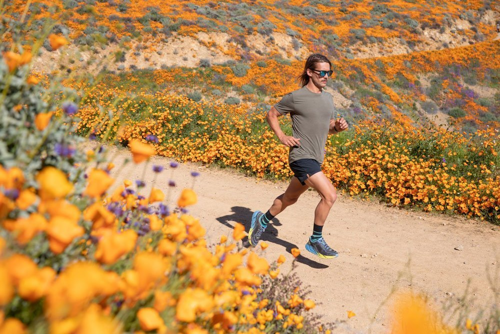 running at the super bloom wild flowers