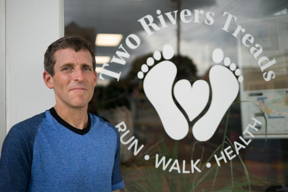 dr mark cucuzella outside the first minimalist running footwear store he owns Two Rivers Treads
