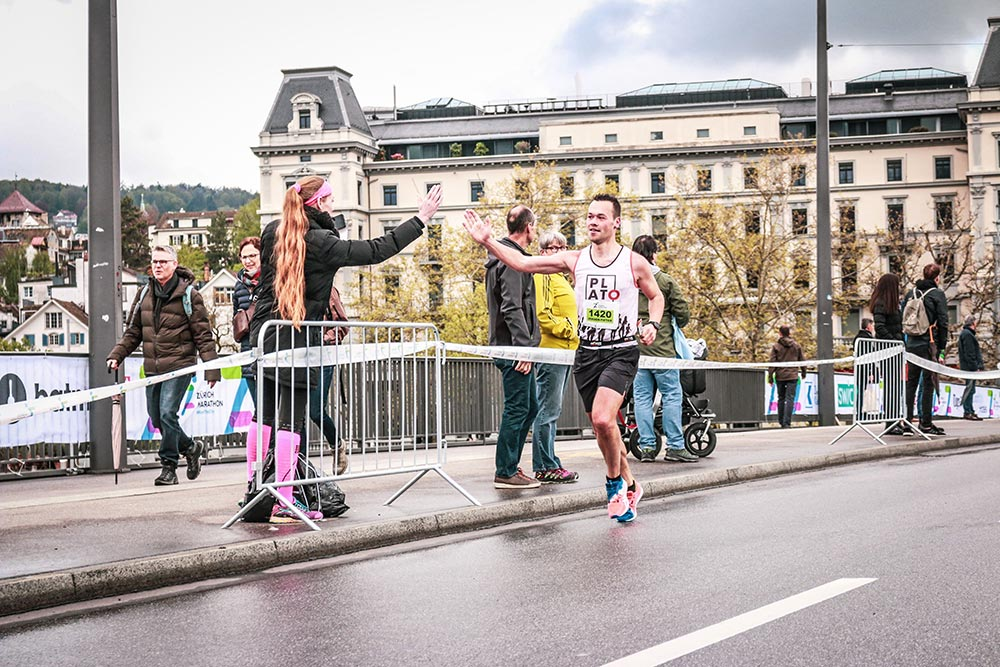 high five in a marathon