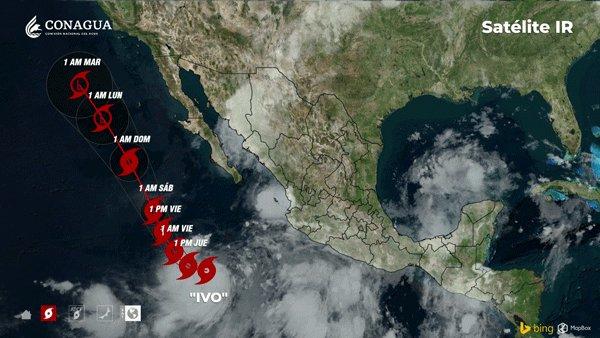 Trayectoria de la tormenta tropical 'Ivo', seguirá generando lluvias intensas en Sinaloa, advierte SMN