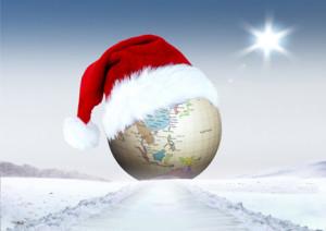 Merry Christmas and globe