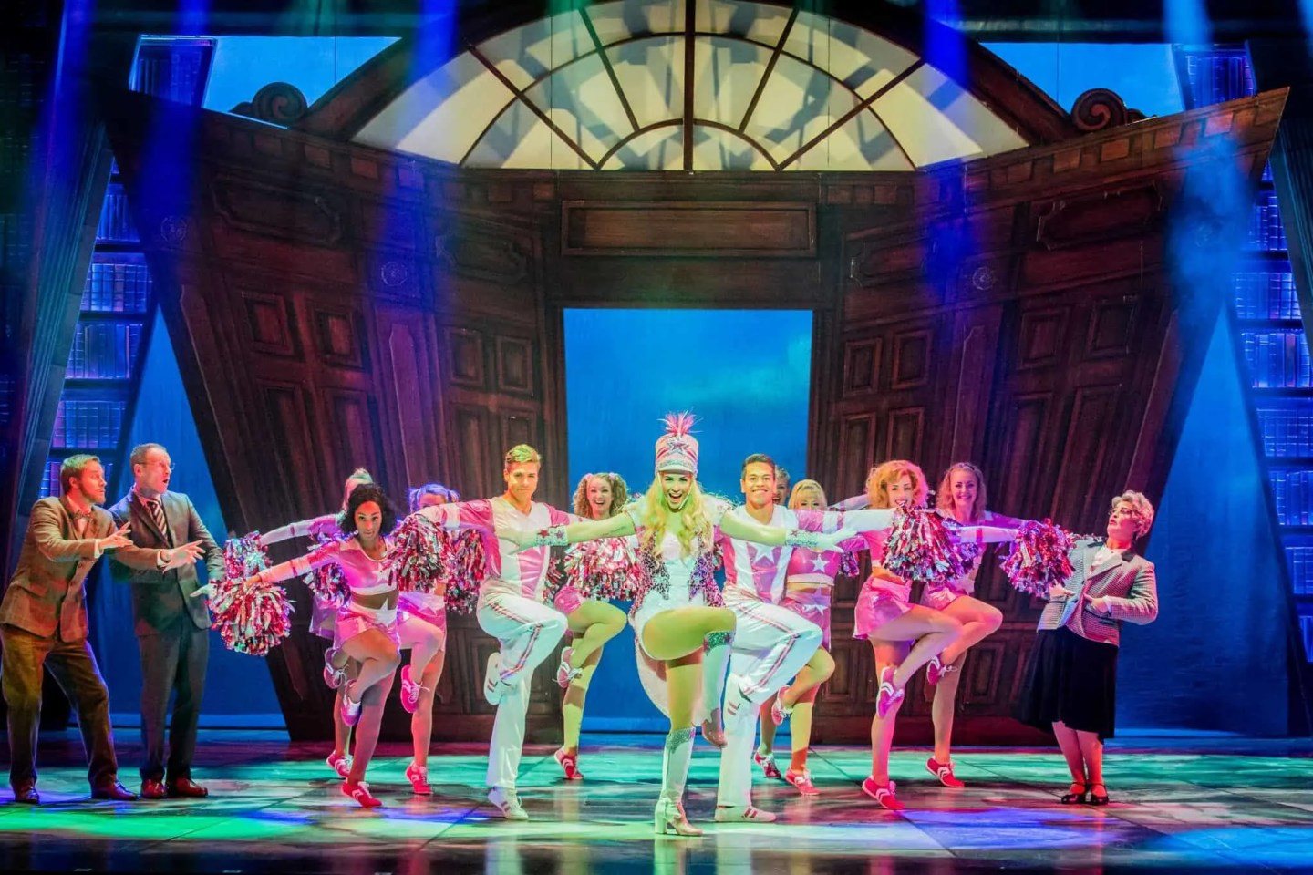 Legally Blonde Harvard Essay 2 Lucie Jones (Elle Woods) centre and company Photo Robert Workman