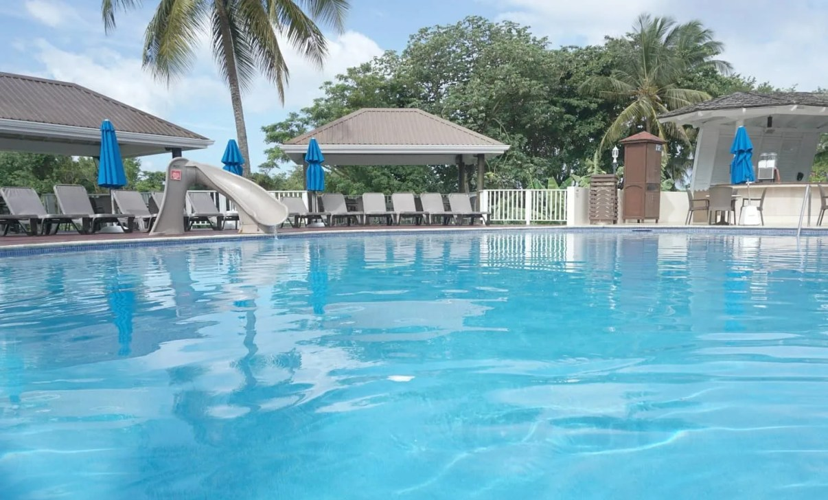 The pool near the snack bar perfect for small children at St James Club St Lucia