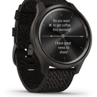 Garmin vivomove Style S/E Woven Band, graphite/black pepper