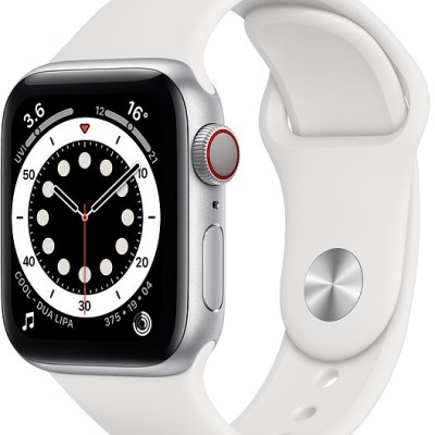 Apple Watch 6 GPS + Cellular 40mm Sport Band, silver/white (M06M3EL/A)