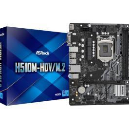 Mainboard ASROCK Intel H510 LGA1200 1xPCI-Express 3.0 1x 1xPCI-Express 4.0 16x 1xM.2 Memory DDR4 Memory slots 2 1x15pin D-sub 1xDVI 1xHDMI 2xAudio-In 1xAudio-Out 4xUSB 2.0 2xUSB 3.2 2xPS/2 1xRJ45 H510M-HDV/M.2