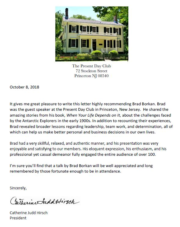 Present Day Club testimonial