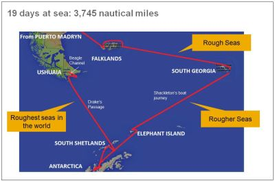The journey: 19 days at sea. 3,745 nautical miles