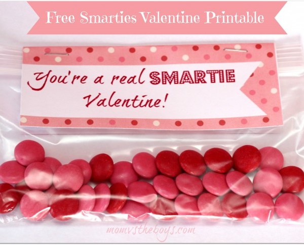 Smarties Valentine Treat Bags with Free Printable