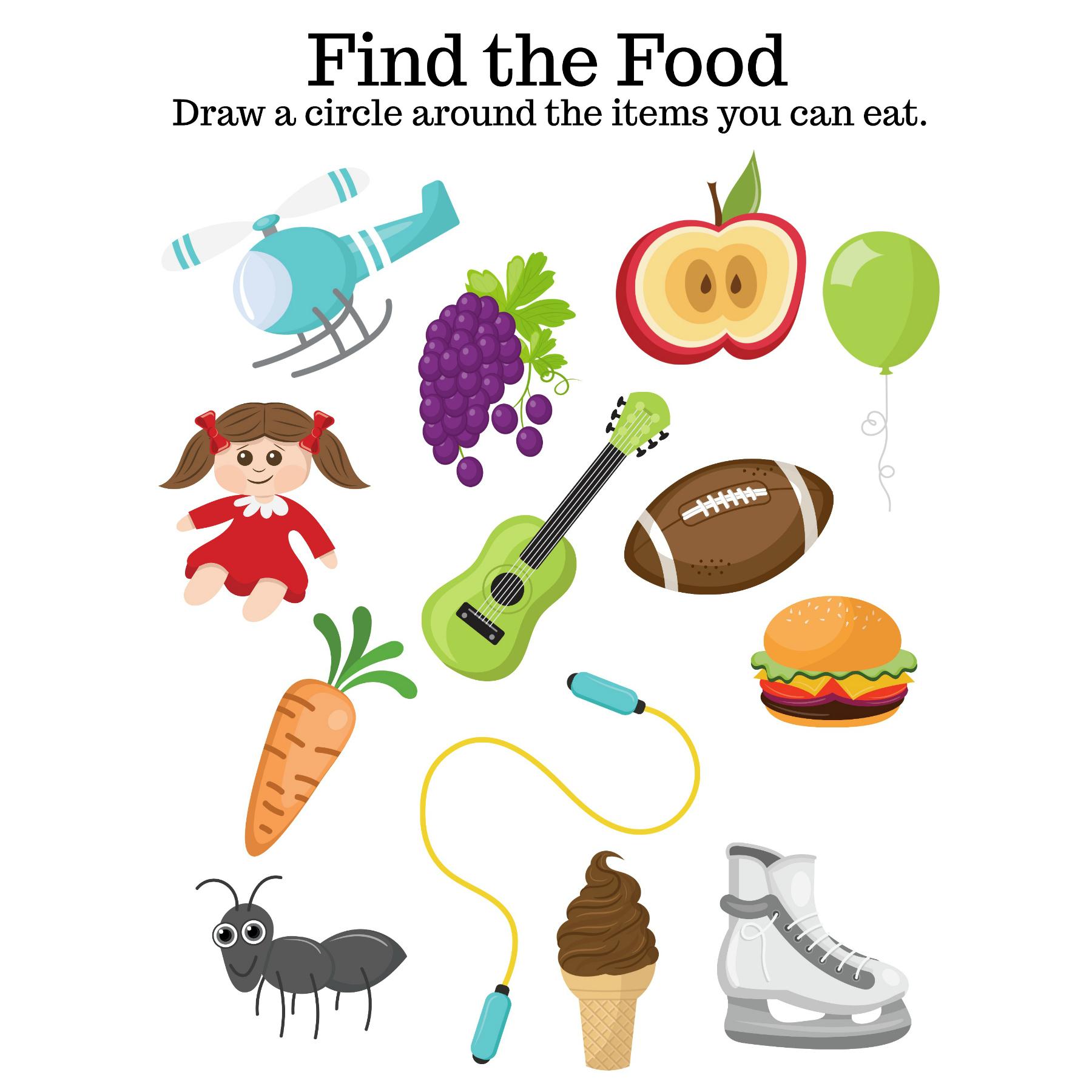 Find The Food Printable Worksheet Ig