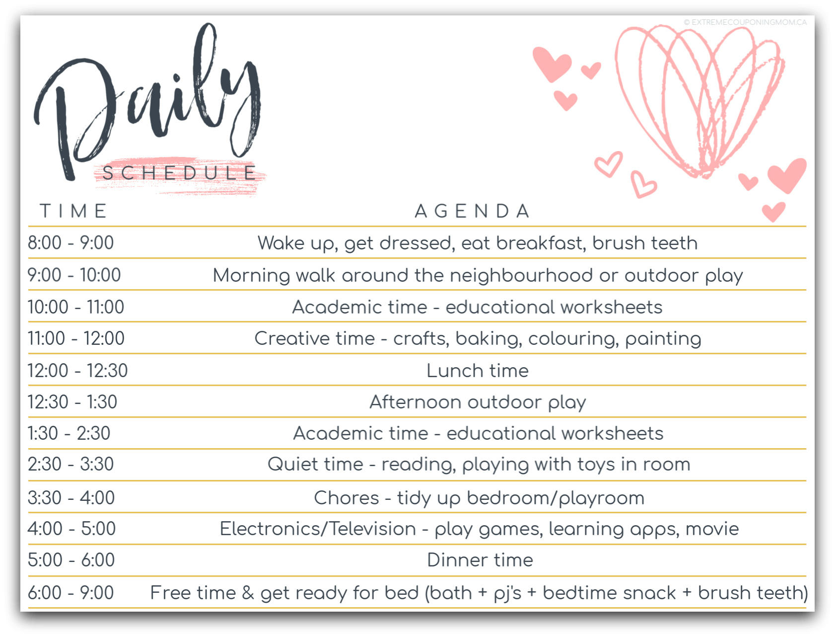 First Day Of Homeschool Daily Schedule Printables