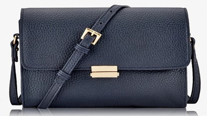 Purses On Sale, Catherine Crossbody Navy Pebble Grain Leather