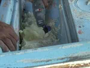 Cutting Away Excess Foam Filler