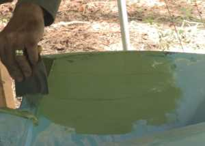 Applying Fairing Compound to Transom Repair