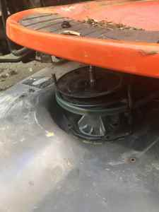 Partially Installed Mower Spindle