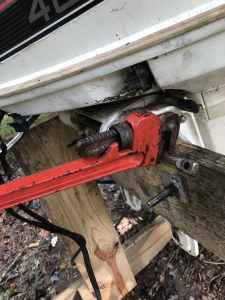 Using a Pipe Wrench to Break Frozend Steering Tube