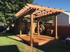 build a wood deck for a pergola base