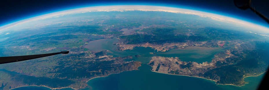 wide angle panoramic of san francisco bay taken from a U-2 spyplane